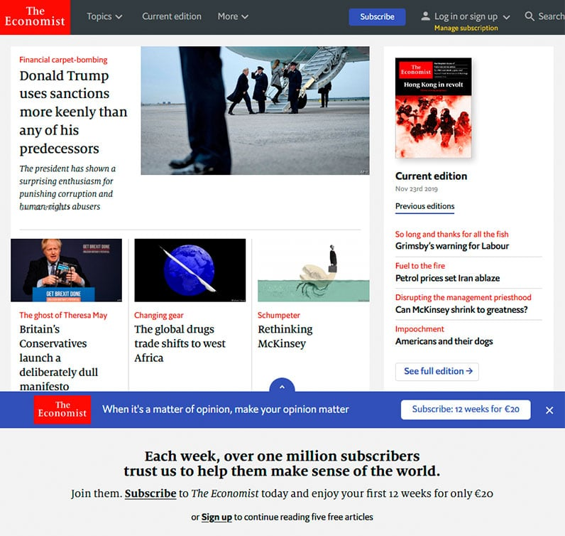 the economist website screenshot