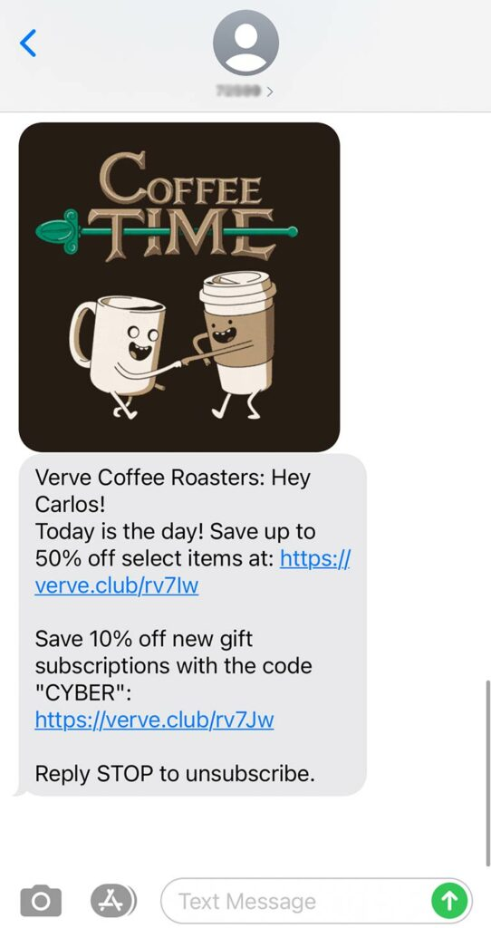 example of direct marketing sms