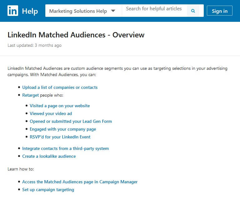 use the matched audiences feature
