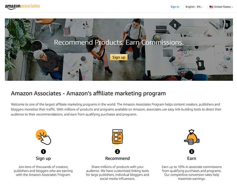 amazon affiliate screenshot