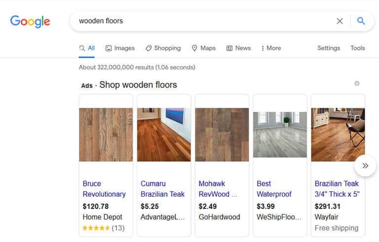 google advertising screenshot
