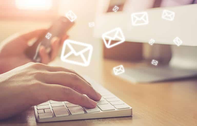 hands keyboard emails