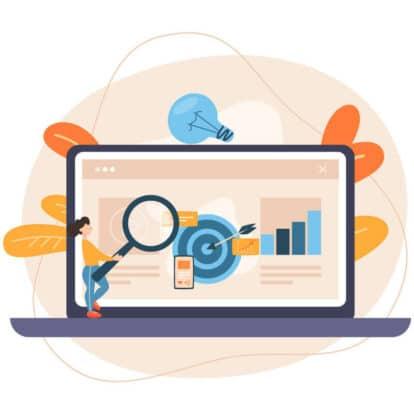 man laptop research data