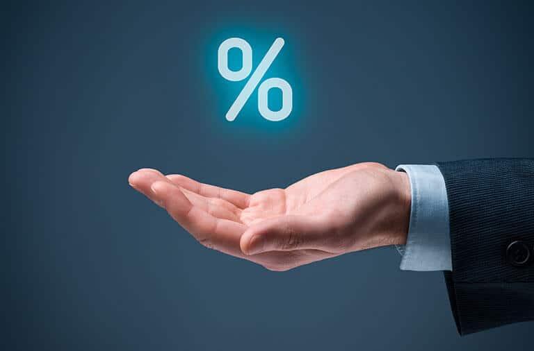 percentage symbol over hand