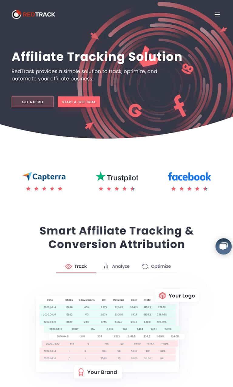 redtrack website screenshot