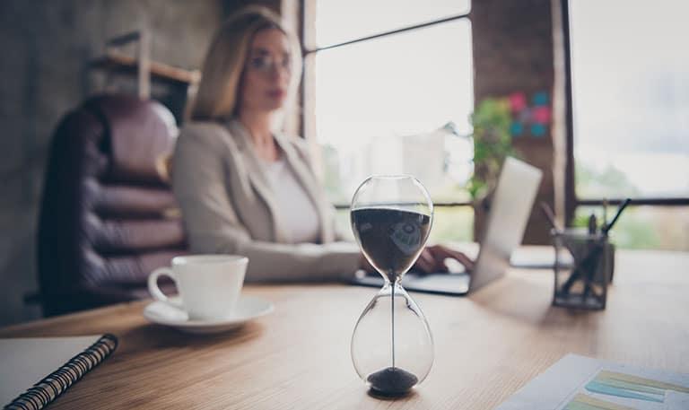 working woman sand clock