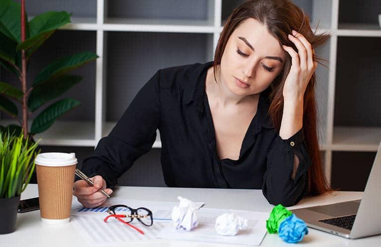 worried woman work