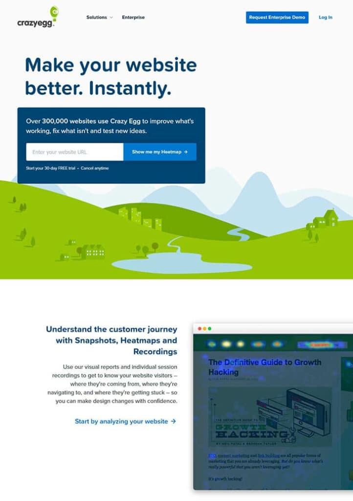 crazyegg website screenshot