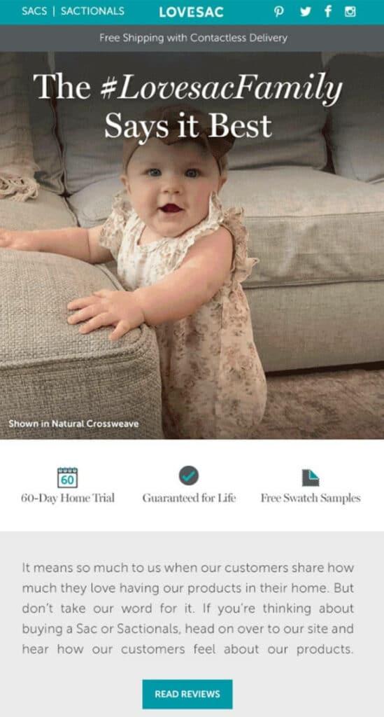 lovesac newsletter screenshot