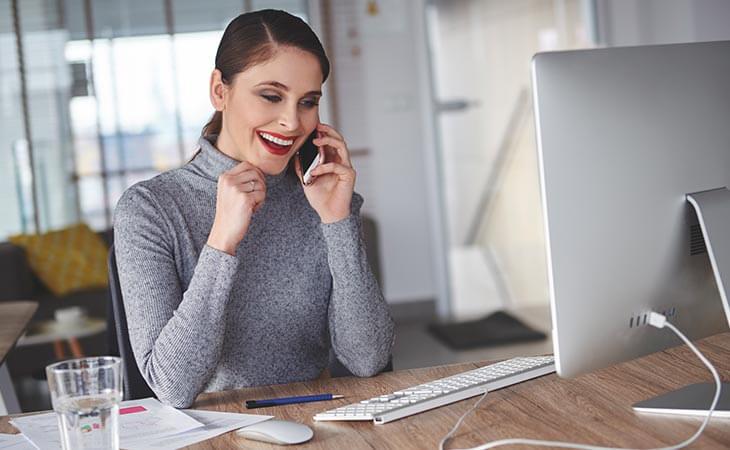 woman calling computer