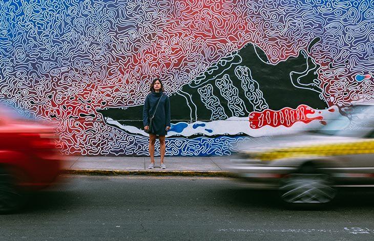 woman street sneaker painting