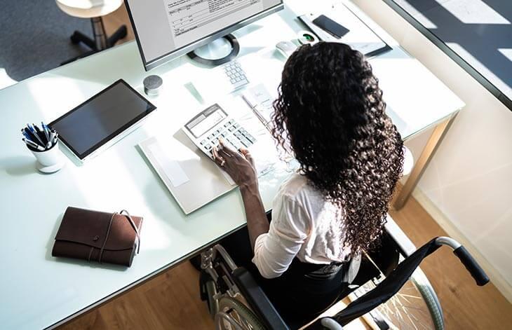 woman work desk